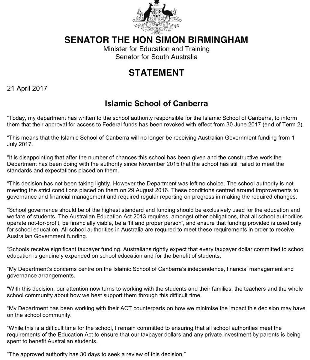 Simon Birmingham on Twitter: