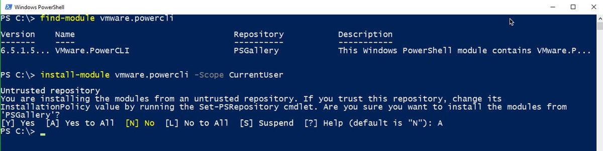 1. Uninstall current version of #PowerCLI 2. Install PowerCLI 6.5.1 from the #PowerShell Gallery 3. Enjoy! https://t.co/AbcrwDZWEO