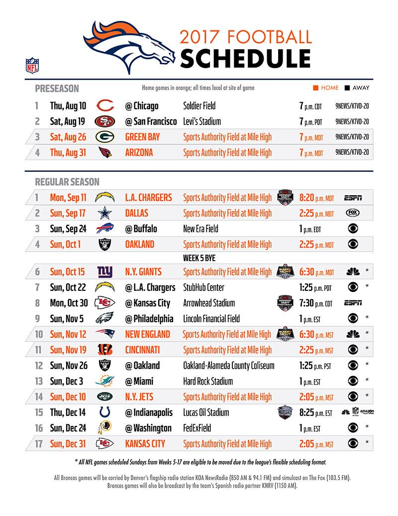 Playful image with denver broncos schedule printable
