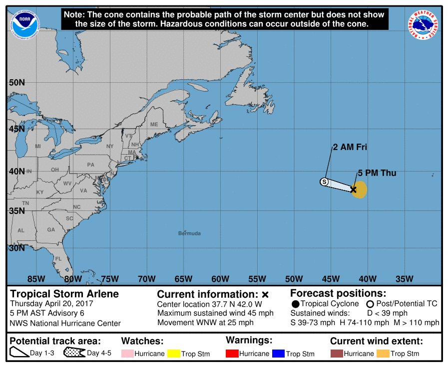 The first named storm of the Atlantic tropical season has been named Arlene.