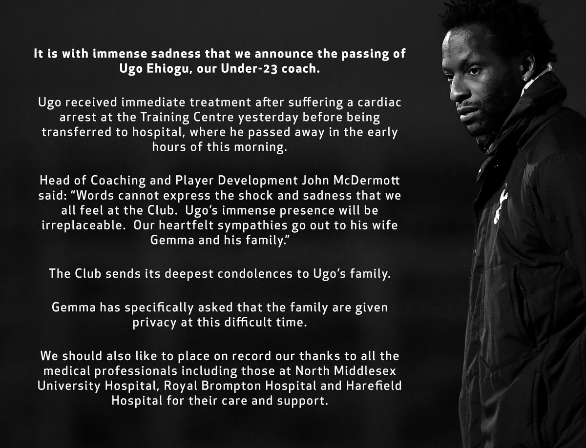 It is with immense sadness that we announce the passing of Ugo Ehiogu, our Under-23 coach.