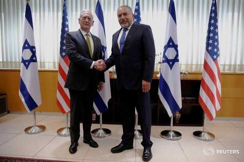 U.S. Defense Secretary James Mattis and Israeli counterpart Avigdor Lieberman hold a joint news conference