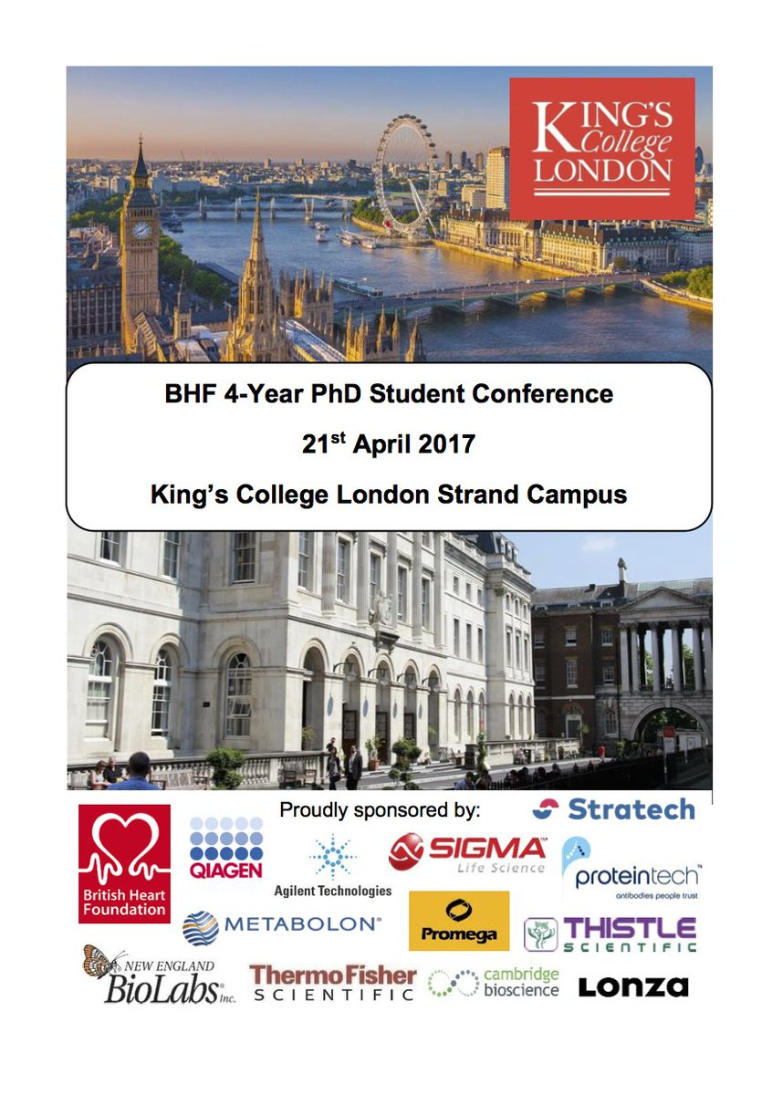 So much interesting science today as @Kings_BHFCentre hosts @TheBHF 4-Year PhD Student Conference. #cardiovascular #science