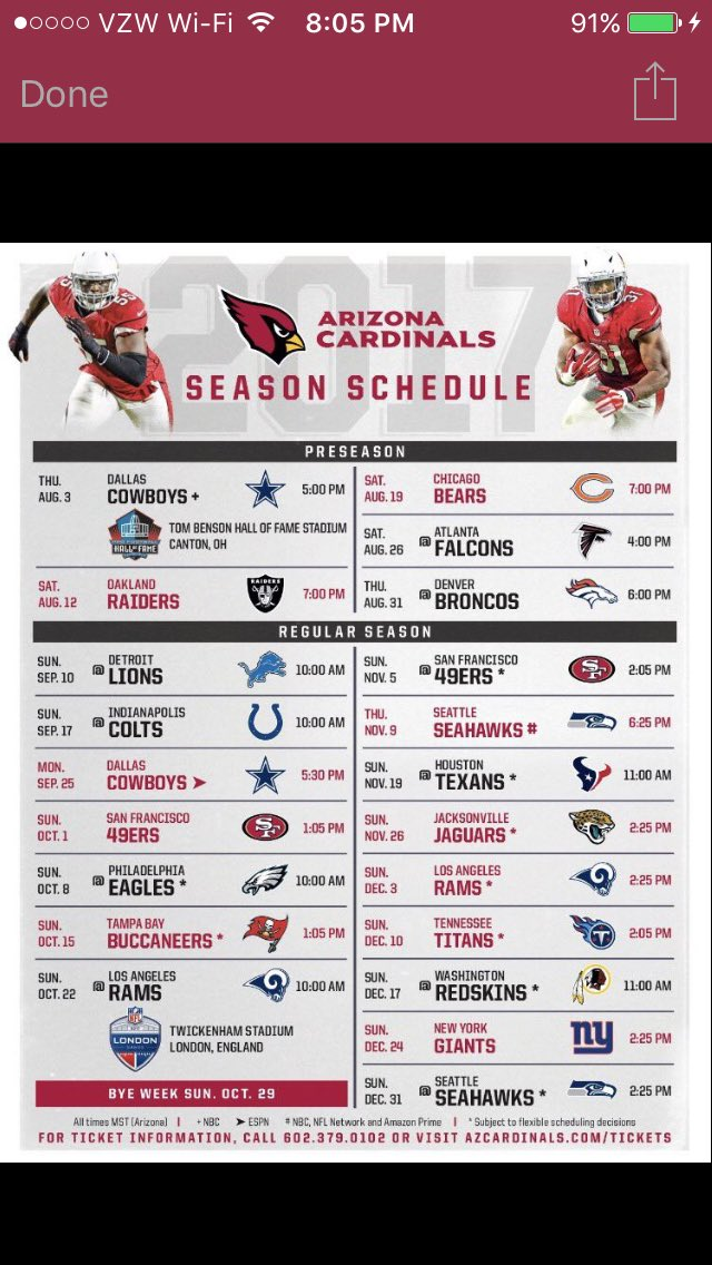 @AZCardinals 2017 #NFLSchedule #BeRedSeeRed https://t.co/ujdVJdDgxZ