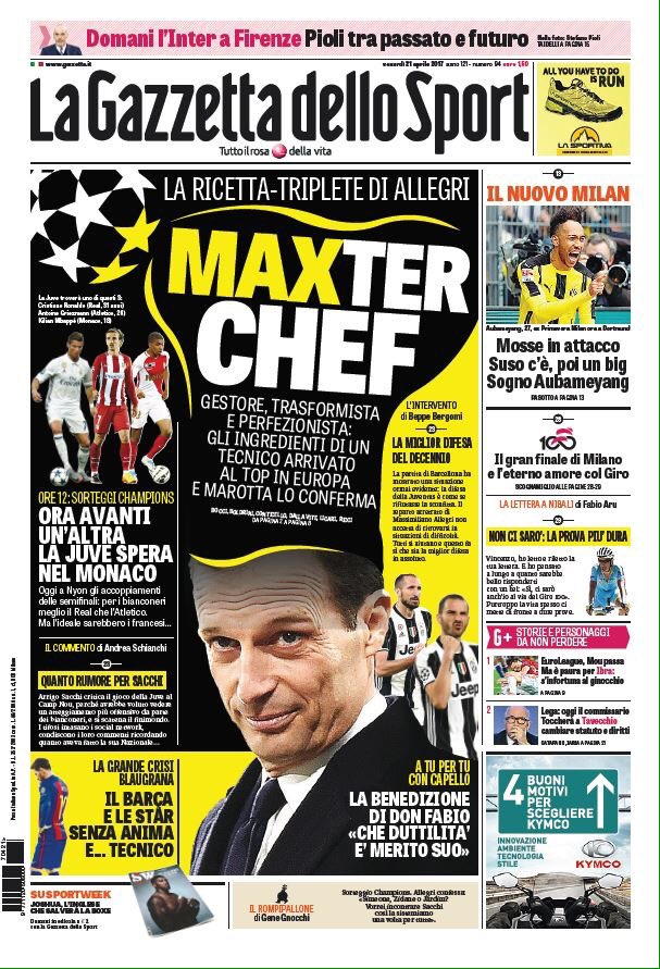 Front page of #GdS:  -&gt; Maxter Chef  -&gt; [Mr.] #Allegri's Treble recipe  -&gt; Manager, transformative &amp; perfectionist  #Juve<br>http://pic.twitter.com/545uVdFe4A