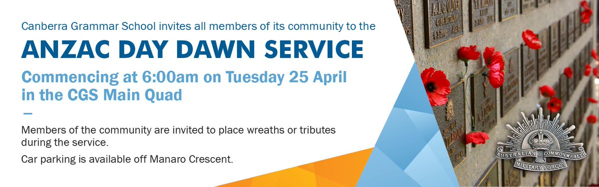 CGS would like to invite all of its community members to the CGS ANZAC Day Dawn Service, details below.
