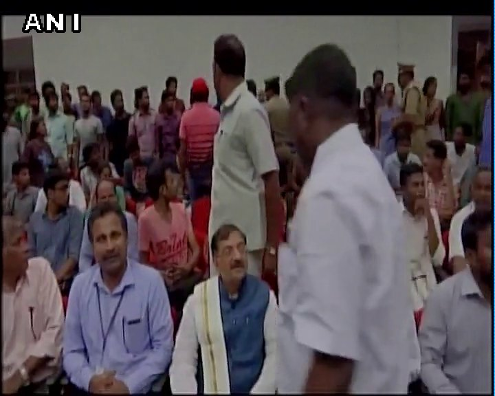 Protests in Puducherry Univ after ex BJP MP Tarun Vijay arrived for program. Students protested against his remark on South Indians
