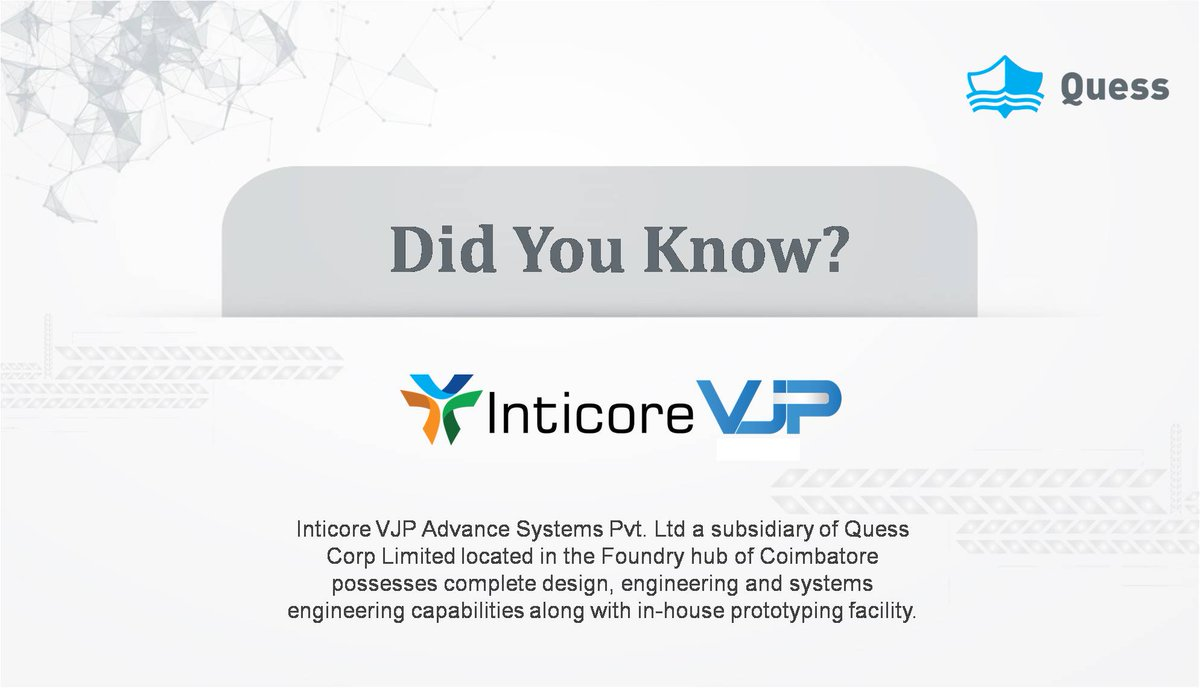 Quess Corp Limited On Twitter Wearequess Inticore Vjp Advance Systems Pvt Ltd A Subsidiary Of Quessconnect Complete Design Engineering And Systemsengineering Https T Co 7z1alq5dxz