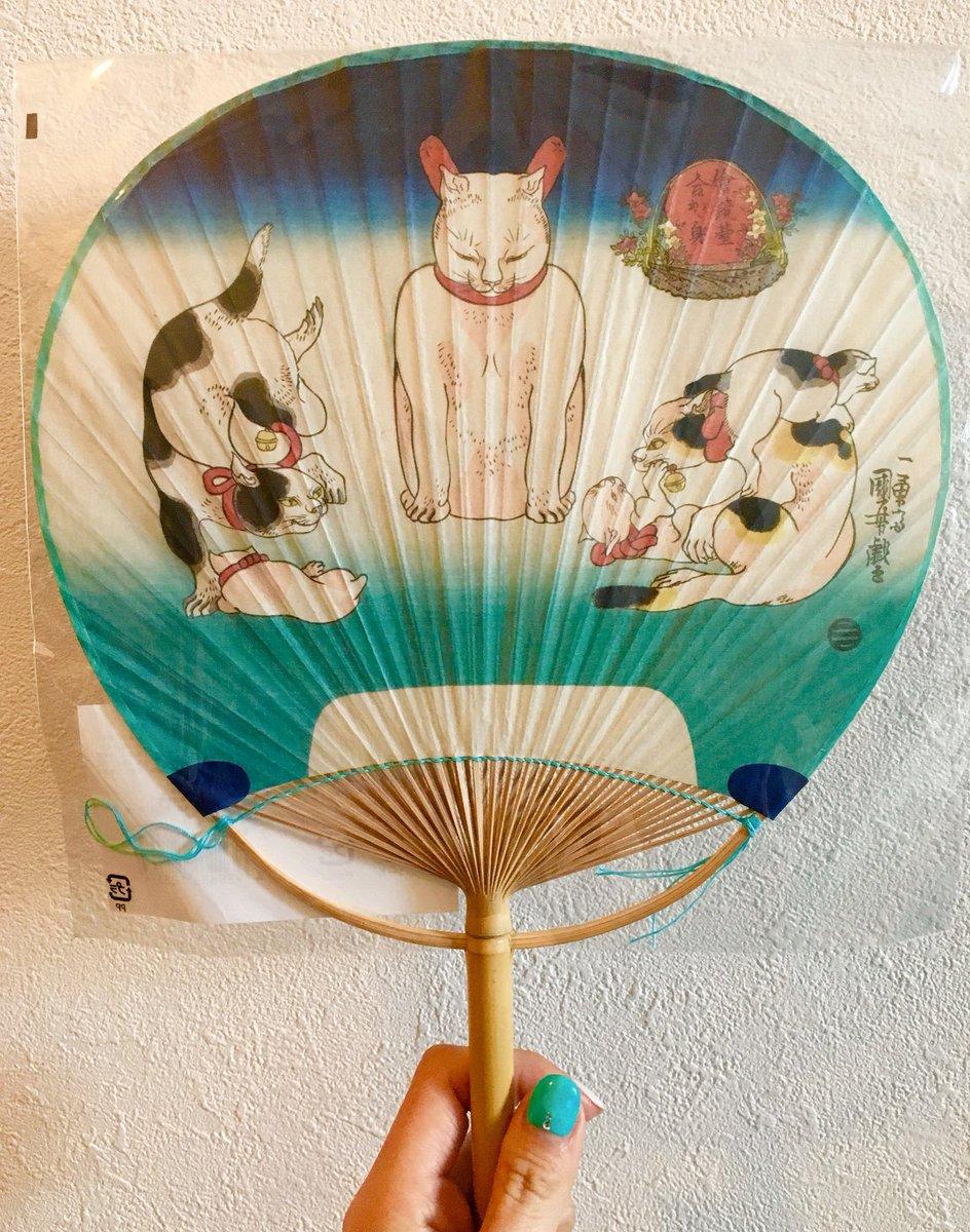 歌川国芳の絵鏡台合かゞ身(猫)のうちわ一目惚れして買ってしまった( ˊᵕˋ ) 最高に可愛い。ただ、ただ、可愛い。可愛い。。。 https://t.co/lNDCn8ywTD