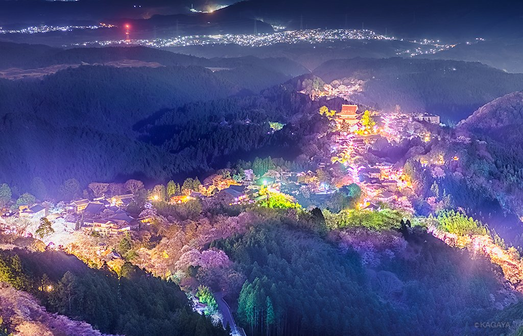 千本桜を眺めた日 1、うららかな午後 2、たそがれの残照 3、月夜に浮かぶ 先週、奈良県吉野山にて撮…