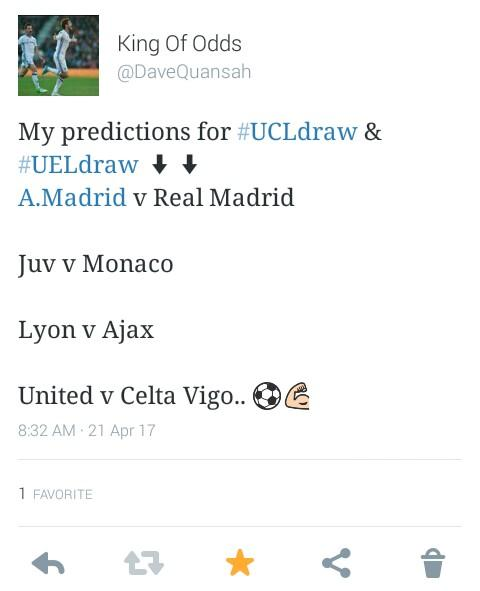So I got my predictions all rights?  #kingofOdds  #UCLdraw  #UELdraw <br>http://pic.twitter.com/S1Wc99MoB4
