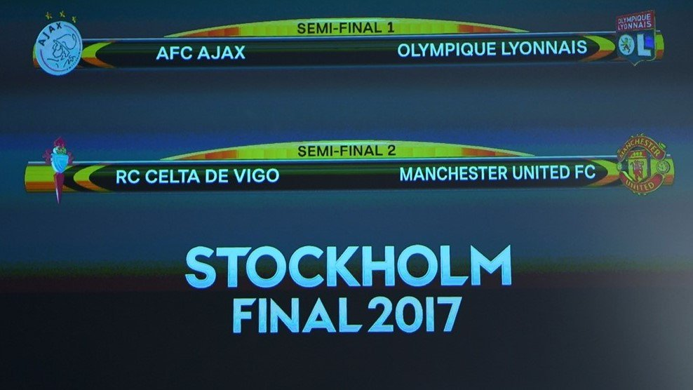DATES   Ajax v Lyon (Weds 3 May, 21:05CEST) Celta v Man. United (Thurs 4 May, 21:05CEST)  Return legs: 11 May, 21:05CEST  #UELdraw <br>http://pic.twitter.com/oofm5miNiG