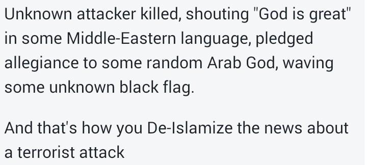How to De-islamize a terror attack! (@TarekFatah )  #attentatchampselysees <br>http://pic.twitter.com/1J0cFl2b3P