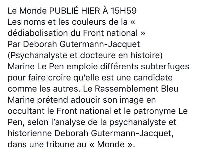 #ArmeDuVote Les noms et les couleurs de la « dédiabolisation du #FHaine » par Deborah Gutermann-Jacquet   https://www. facebook.com/claire.piette. 92/posts/1152527104876904  … pic.twitter.com/UzPyCqHK5T