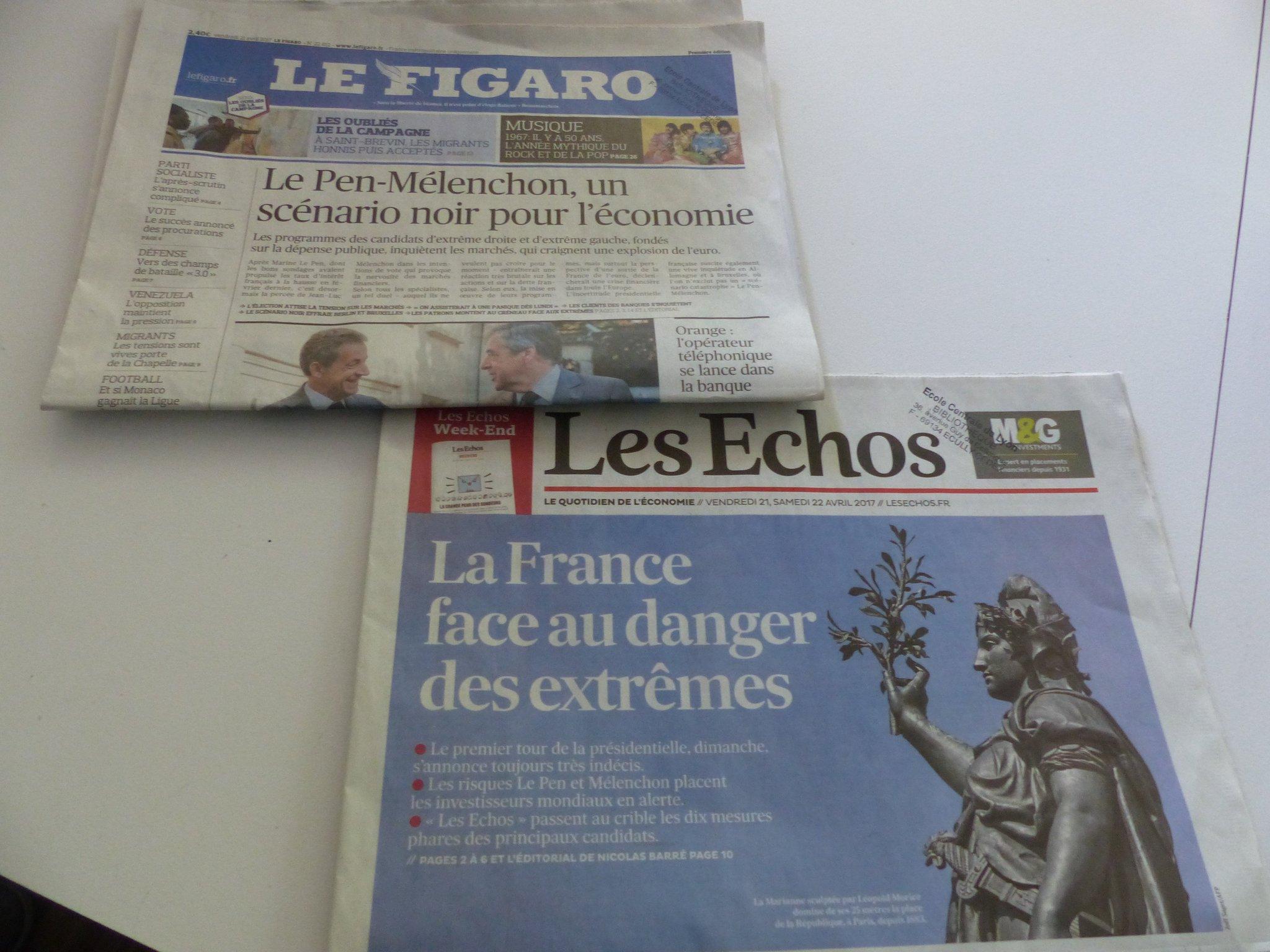La bib. poursuit la présentation de la #presse d'actu en lien avec la #présidentielle @Le_Figaro @LesEchos. RV #CitoyenECL à l'espace presse https://t.co/DiKaopET80