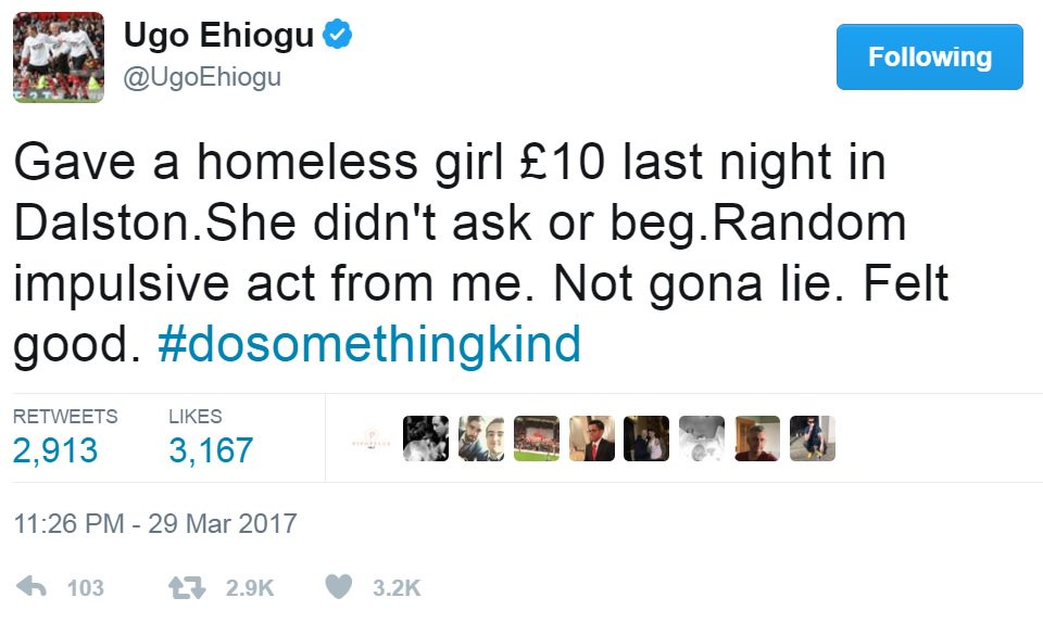 This was Ugo Ehiogu's final tweet. Whatever you do today, make sure you #dosomethingkind