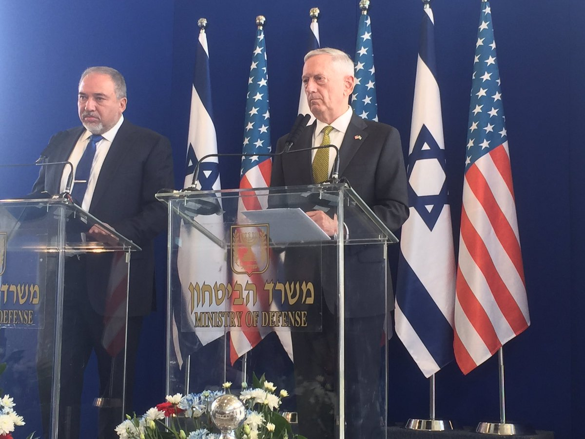 There must be more pressure and more sanctions placed on Iran Israel's Defense Minister @AvigdorLiberman said today with Gen.Mattis