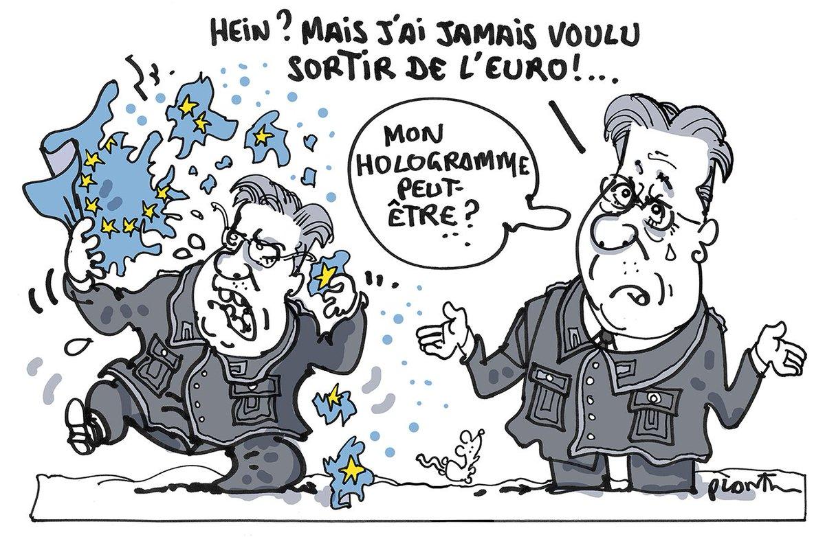 SORTIR DE L'EURO ?  Le dessin du Monde daté 21 avril.