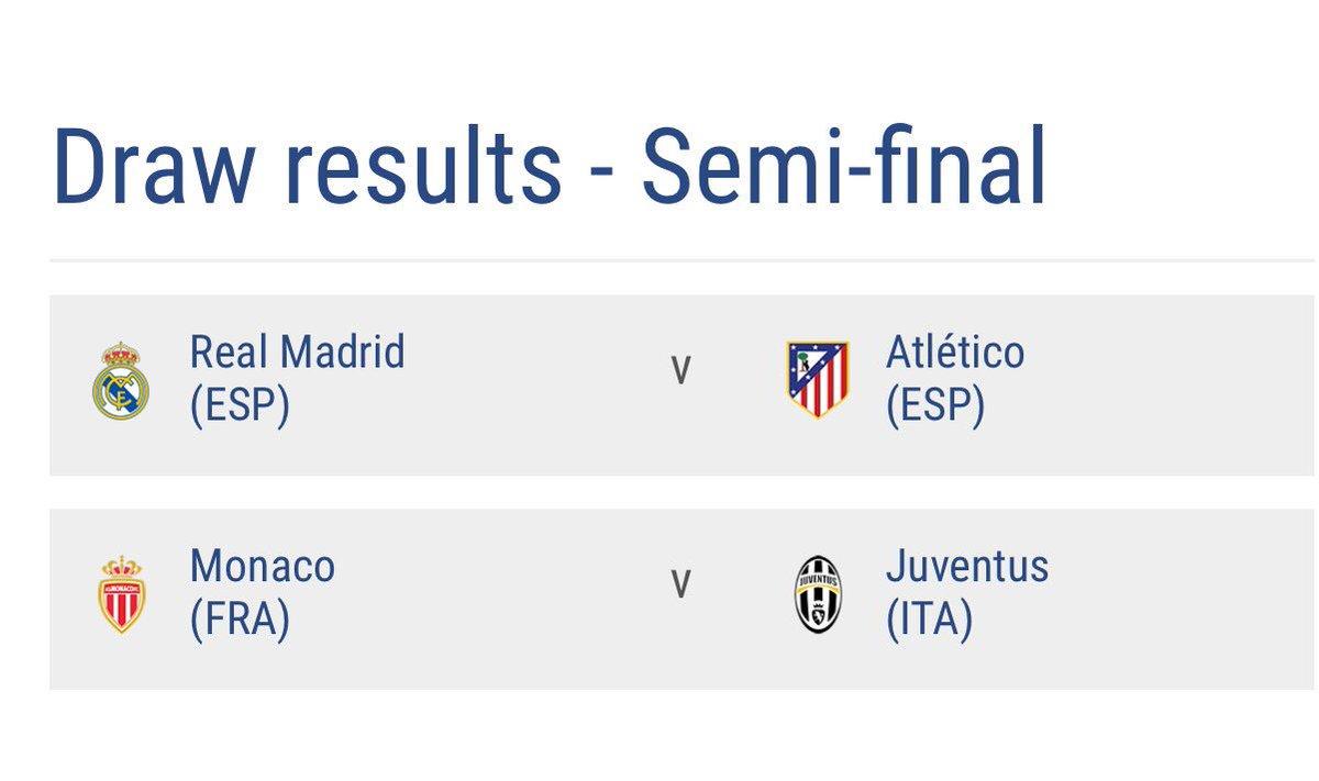 BREAKING: #UEFA Champions League draw: Semi-final <br>http://pic.twitter.com/UX22PjnE1p