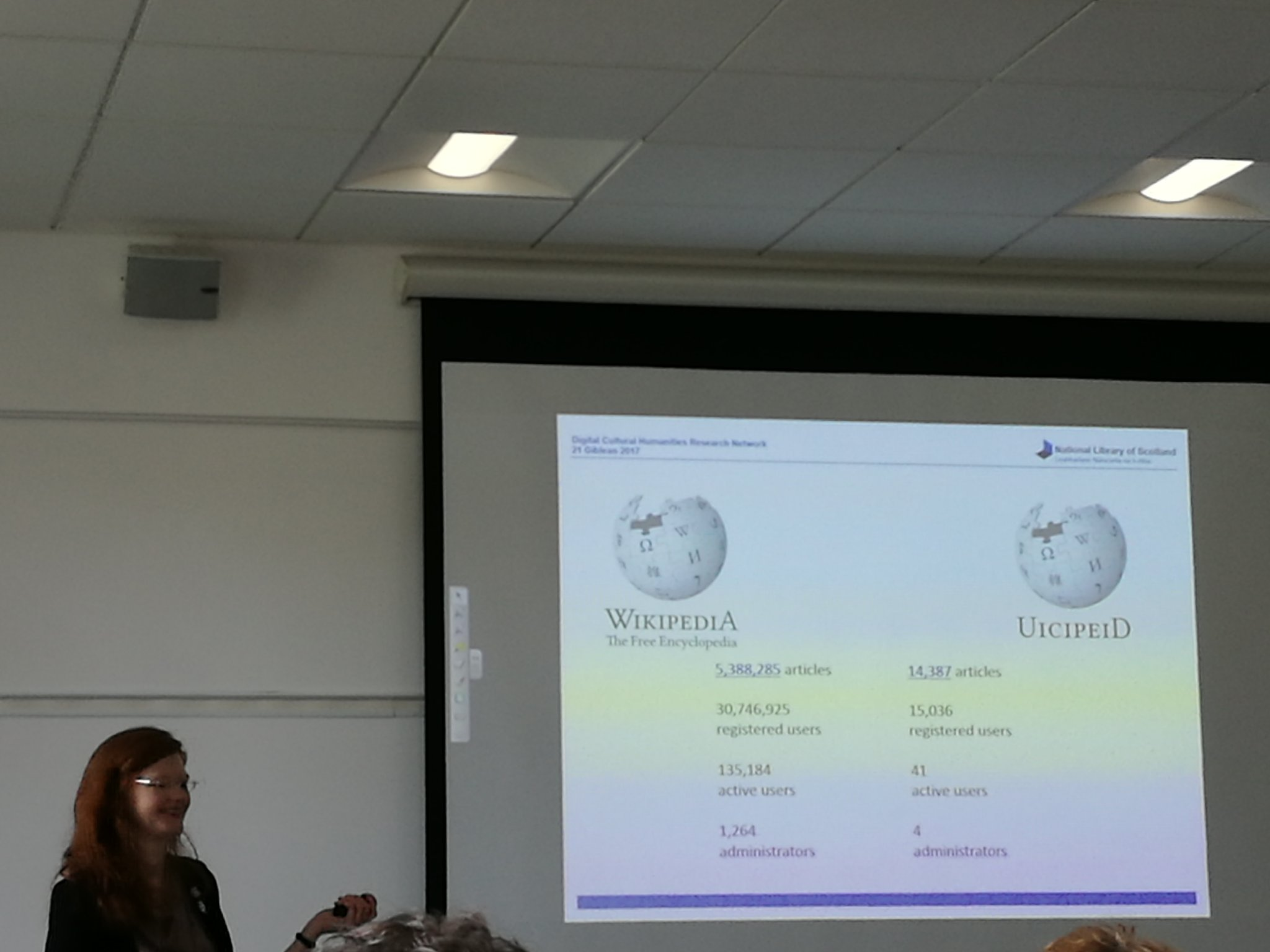 One challenge is having a #crowdsourcing model but not enough participants for a crowd on Gaelic wikipedia. #dchrn https://t.co/SpMIP8URka