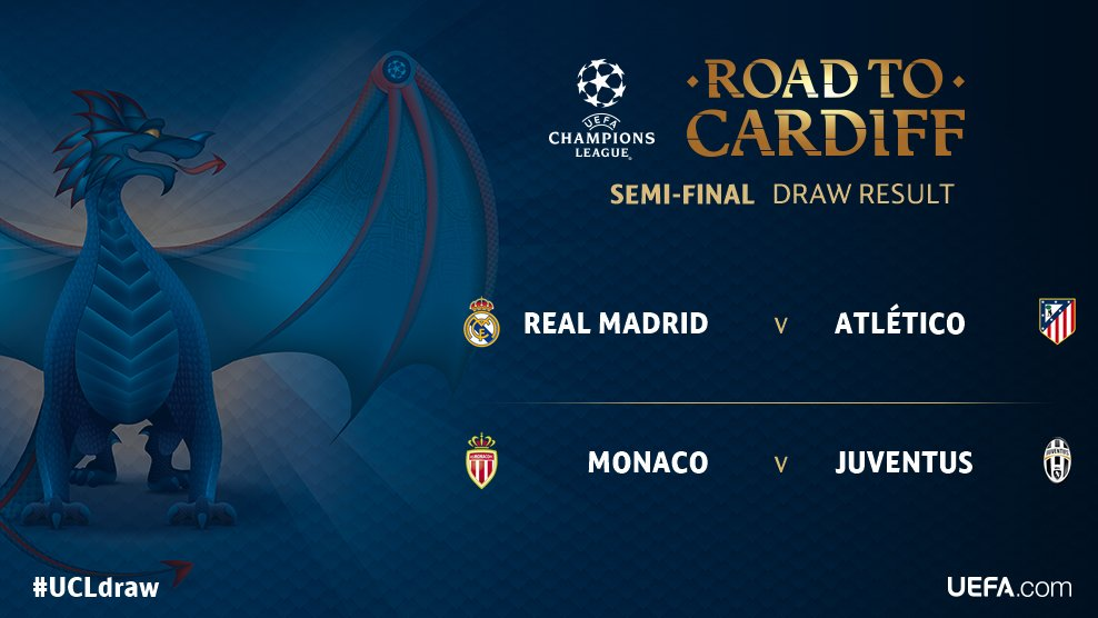 Here is the Champions League semi-final draw! #UCL #UCLDraw #UEFA #AtleticoMadrid #RealMadrid #Juventus #ASMonaco<br>http://pic.twitter.com/AQKfNFJO7S