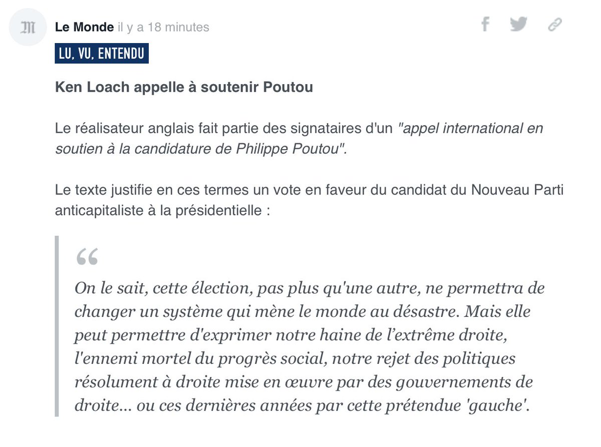 Ken Loach... Sans commentaire... #attentatchampselysees <br>http://pic.twitter.com/emKX7lxivx