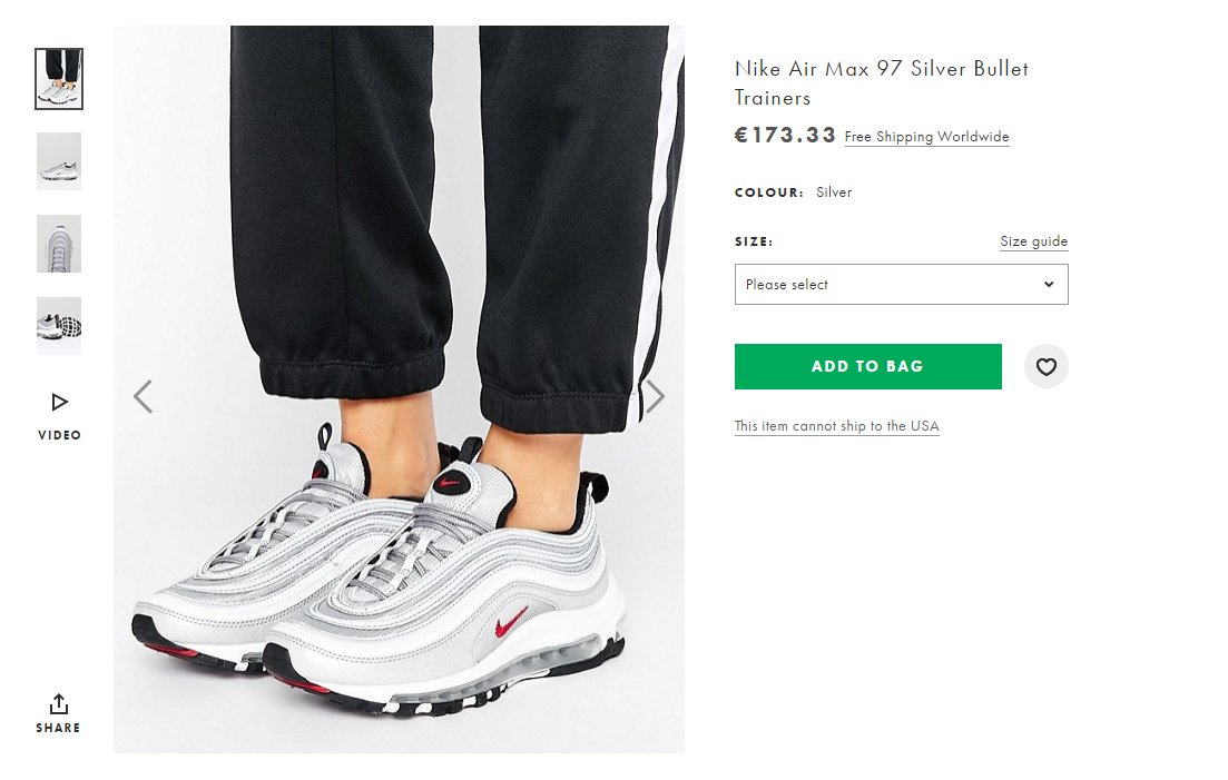 finest selection 61868 00a99 ... real moresneakers on twitter nike air max 97 og qs silver bullet live  on asos no