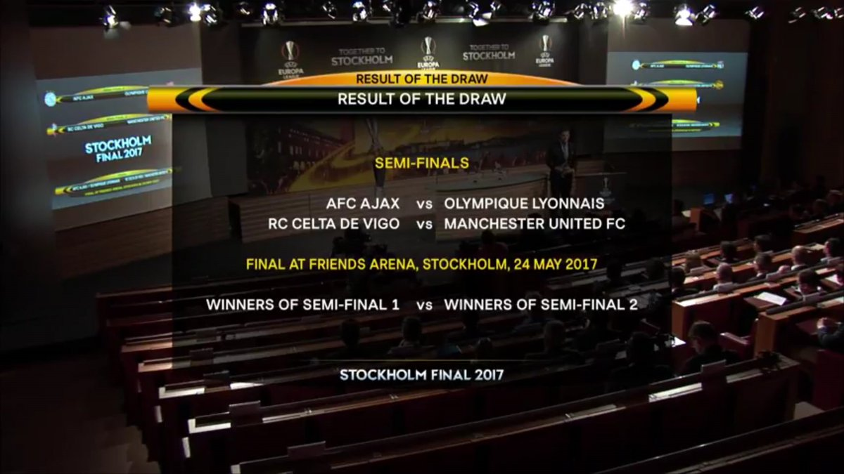 Semis of #EuropaLeague  Ajax vs Lyon Celta vs #MUFC   Man Utd playing second leg at home  @UEFA  #UELdraw #mufc #uel #EuropaLeague #UCLdraw<br>http://pic.twitter.com/HE3Q8u3GJh