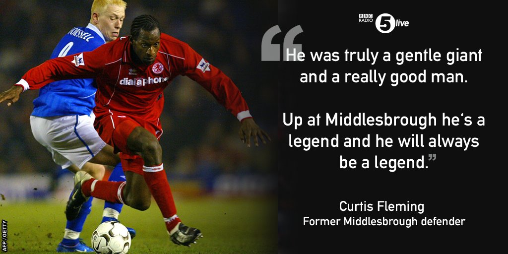 """Former @Boro defender Curtis Fleming pays tribute to """"gentle giant"""" #UgoEhiogu, who has died aged 44   http:// bbc.co.uk/5live  &nbsp;  <br>http://pic.twitter.com/jb1pig7TZa"""