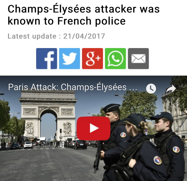Is anyone actually surprised that the Champs-Elysees cop killing is an ISIS-claimed attack?  Wake up, France. #FridayFeeling<br>http://pic.twitter.com/Y6g9ztwbA8