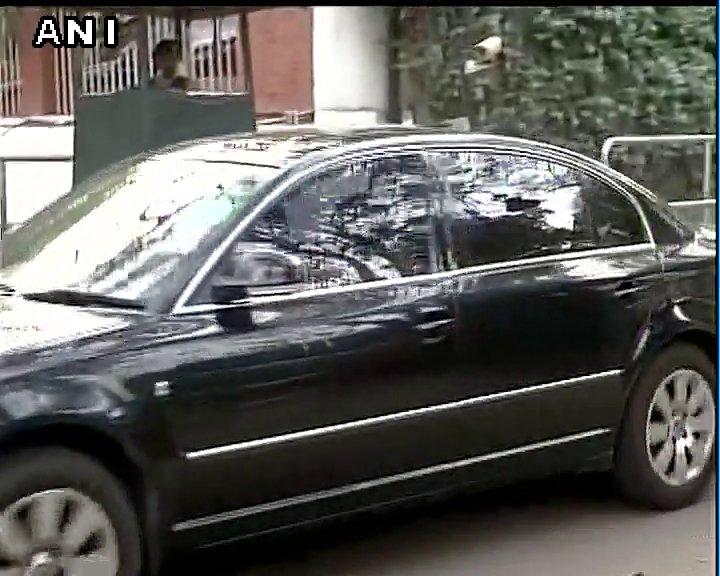 Himachal Pradesh Chief Minister Virbhadra Singh leaves after meeting Congress President Sonia Gandhi in Delhi