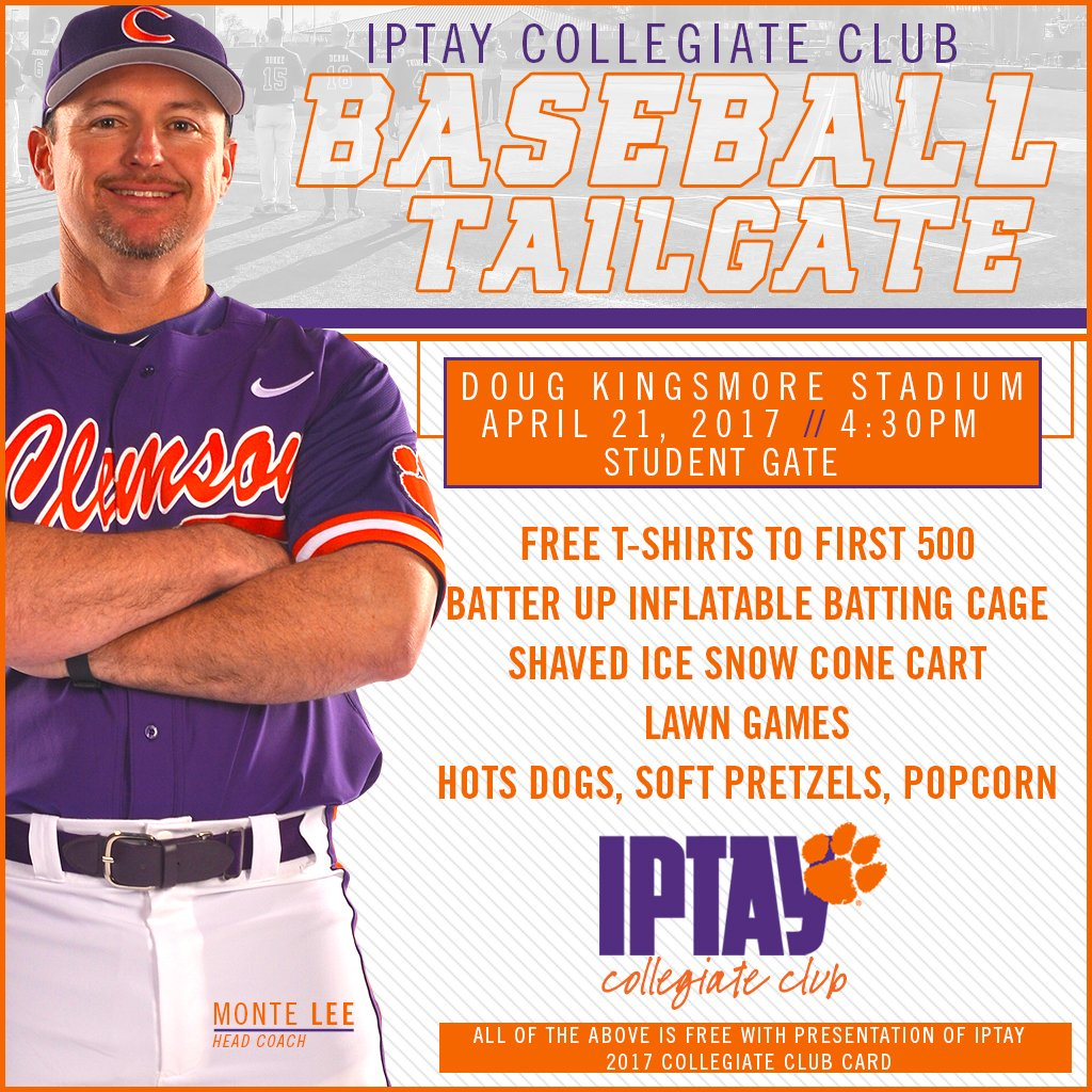 #IPTAY Weekend at @ClemsonBaseball starts today with the Collegiate Club tailgate! Looking forward to seeing our student members tonight. https://t.co/gb8Ao38WfY