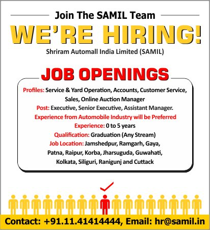 Shriram Automall India Ltd On Twitter Here Are Some Job Openings For The Multiple Profiles If You Feel You Are Suitable For The Given Challenge Please Contact Us Https T Co Ay0jdvsumj