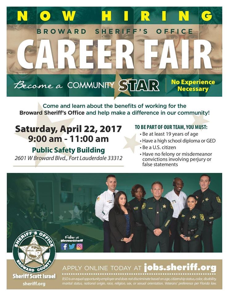 #BSO Wants You! Join @browardsheriff from 9-11am Sat. 4/22 at #CareerFair<br>http://pic.twitter.com/2n42rJUE1C