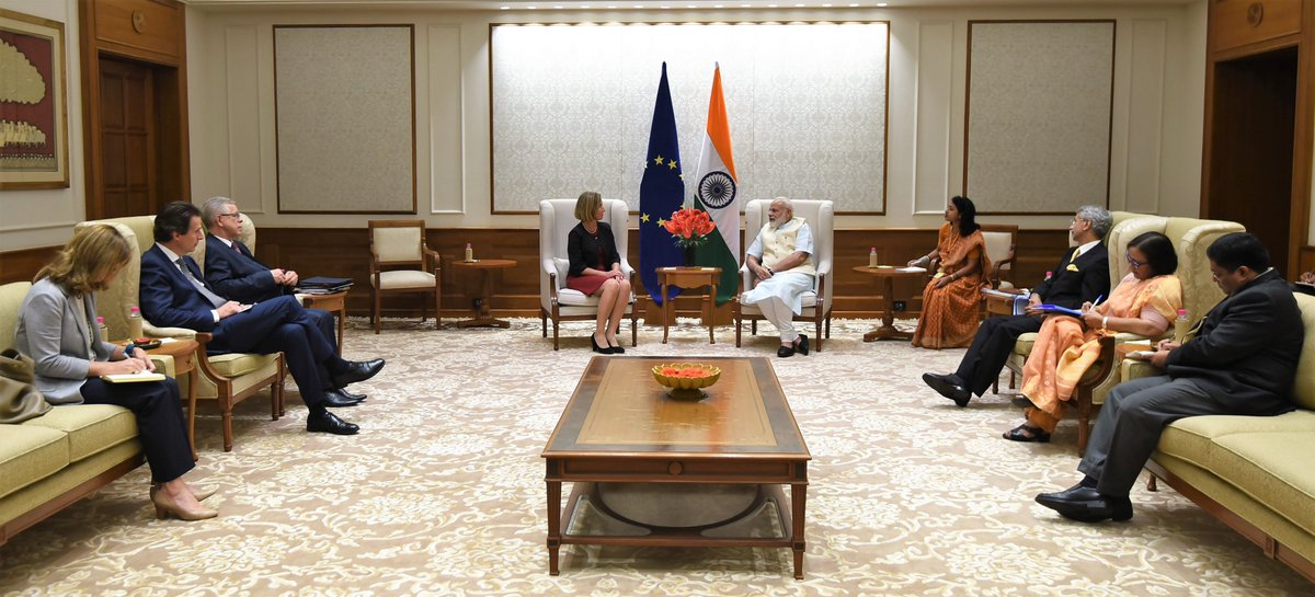 High Representative of EU for Foreign Affairs and Security Policy and Vice President of the EU Commission @FedericaMog met Indian PM @narendramodi
