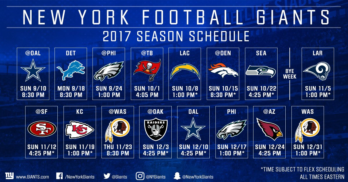Take another look at Big Blue&#39;s 2017 schedule! #GiantsPride   DETAILS:  http:// bit.ly/2oPFnu4  &nbsp;  <br>http://pic.twitter.com/75rNdY2JB9