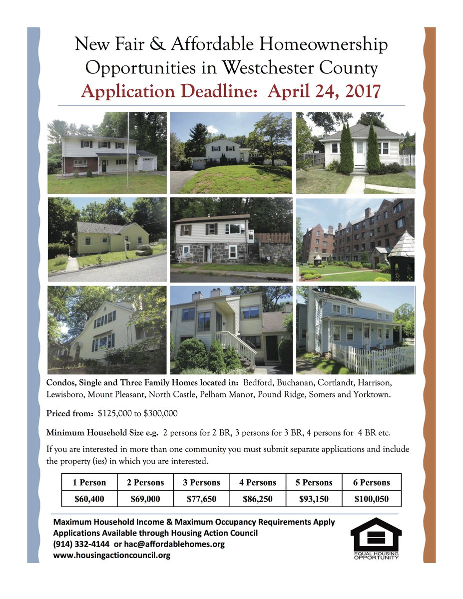 Fair &amp; Affordable Homeownership Opportunities in #Bedford #Buchanan #Cortlandt #Harrison. Applications due 4/24  http:// ow.ly/ISXv308TcfQ  &nbsp;  <br>http://pic.twitter.com/YFRTOVhTsb