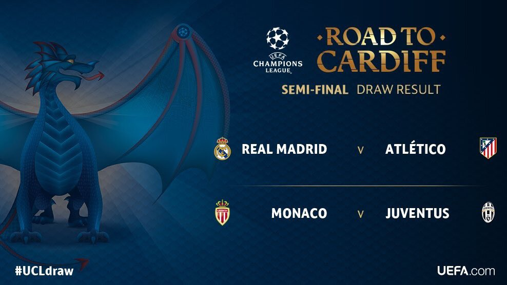#ItsTime 4 #UCL Semi-Final! #MonacoJuve 3rd of May  #JuveMonaco 9th of May #UCLdraw #RoadToCardiff <br>http://pic.twitter.com/KH9yt2lGXh