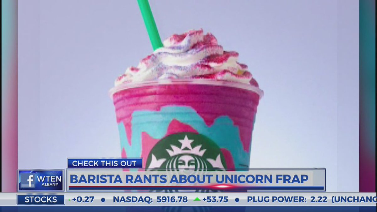 Steaming Pile of Frap...  What do YOU think of the new &#39;Unicorn&#39; flavor at @Starbucks?? Video:  https://www. facebook.com/MeteorologistN ickJohnston/videos/1839829786269331/ &nbsp; …  #WakeUpWith10 @WTEN<br>http://pic.twitter.com/3h1qy8hhs5