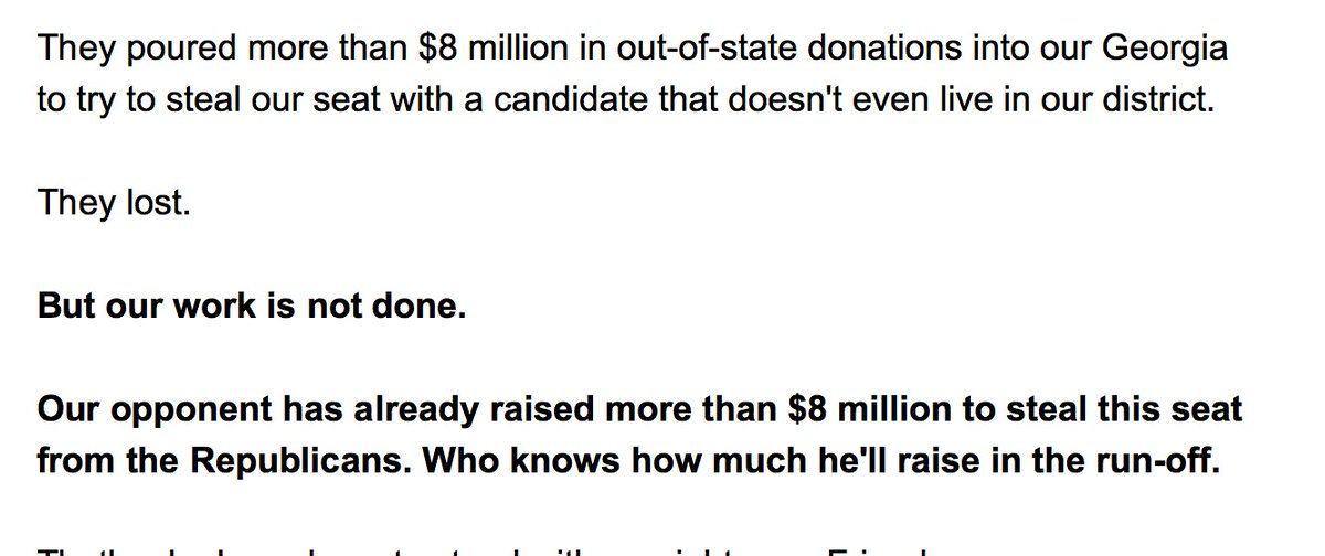 This is from a Karen Handel fundraising email. Under what definition of democracy, is winning an election with the most votes 'stealing'?