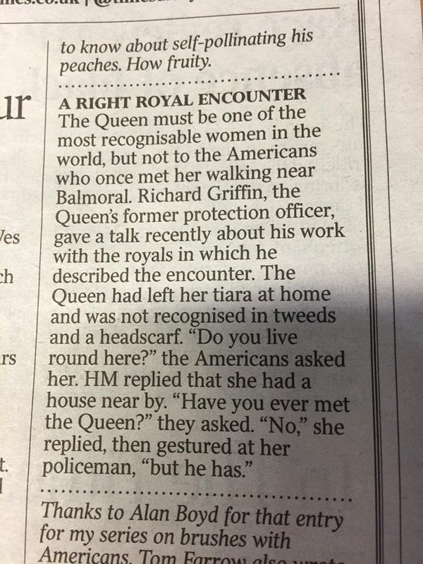 Lovely story in The Times about the American tourists who accidentally...