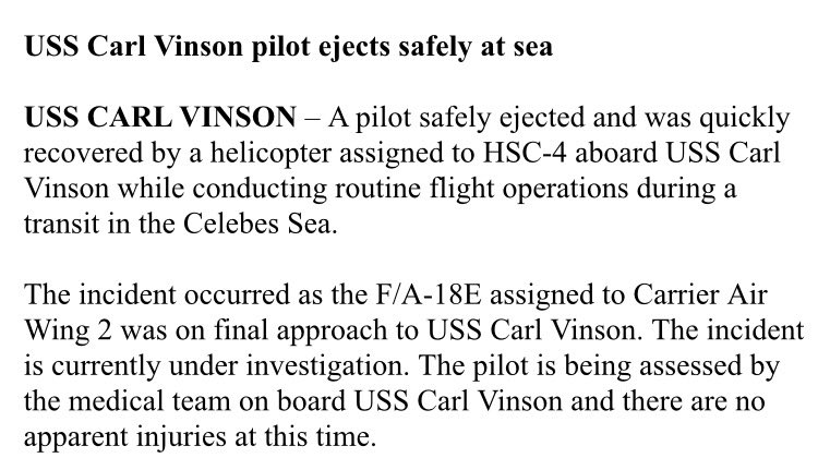 USS Carl Vinson is in between Indonesia and the Philippines - because the Navy just told us about a pilot ejecting there