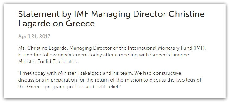 IMF's Lagarde meets Tsakalotos and issues this statement