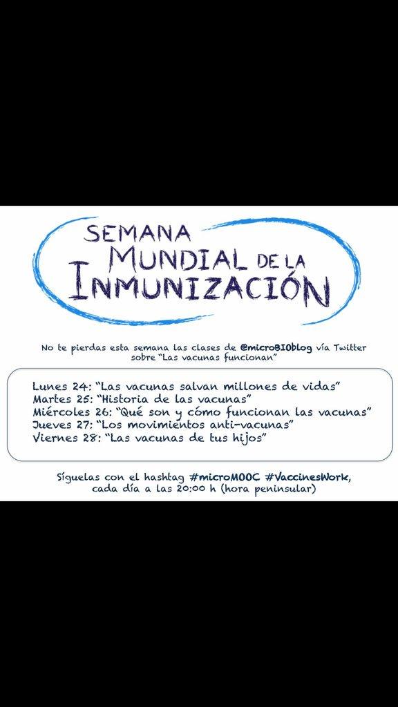 Atentos #mccupf, la semana que viene clases vía twitter sobre vacunas, en la semana mundial de la inmunización @microBIOblog https://t.co/4DKvQvyufw