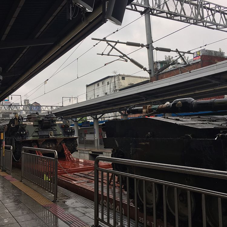 US tanks and other military hardware spotted at Noryangjin Station, South Korea heading North-East