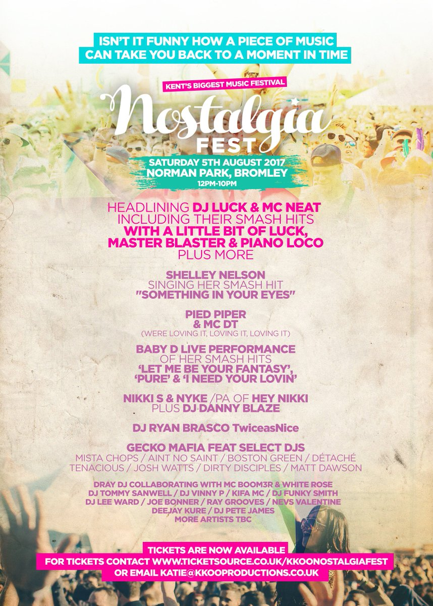 New Festival launching in #bromley @DJLUCKofficial @MCNEATofficial headlining #nostalgiafest on 5th Aug 12-2200pm #oldskool #FestivalSeason <br>http://pic.twitter.com/VYpGoioBYj