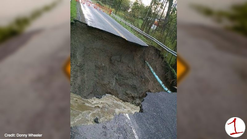 White Springs Brook washes out Turk Rd. in Geneva