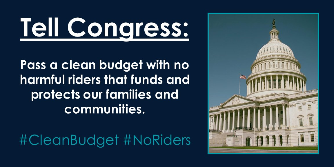 #Democrats should not support a #budget that will #shutdown critical public services and protections. Pass a #cleanbudget with #noriders!<br>http://pic.twitter.com/3VOx9wfIgw