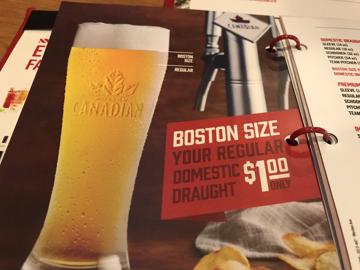 """Apparently in Canada, """"Boston size"""" adds an extra centimeter to your beer glass… /cc @universalhub https://t.co/NdwkTF8Fvx"""