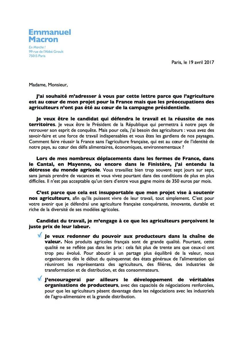 En Marche 35 On Twitter Lettre D Emmanuelmacron Aux Agriculteurs